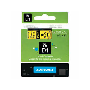 Dymo D1 Sarı/Siyah Yedek Şerit 12mm x 7mt